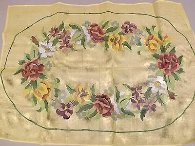 Vtg UNUSED Victorian Country FLORAL 42x60 RUG Latch Hook Printed Canvas Pattern