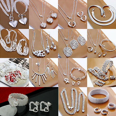 New Jewellery Solid 925Silver Sets Bracelet Necklace ring earrings + Gift box