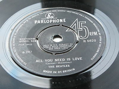 The Beatles  Original  1967  U.k  45     All You Need Is Love  No Tv Reference