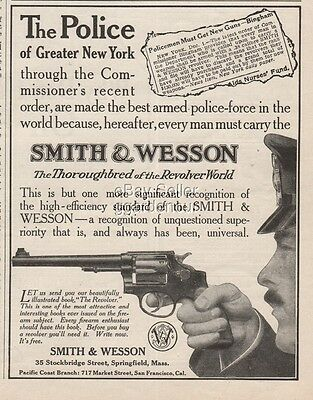 1909 Smith & Wesson Springfield MA .38 Revolver New York City Police Gun Ad