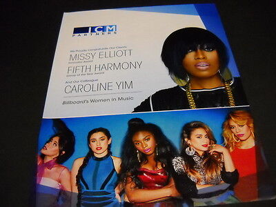 MISSY ELLIOTT and FIFTH HARMONY dual 2015 PROMO POSTER AD mint condition