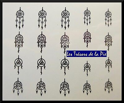 STICKERS ONGLES WATER DECAL (x20) - Nail art - Dreamcatchers - Noir