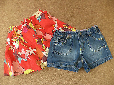 girls red skirt and denim shorts age 4-5  years next