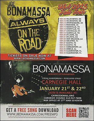 Joe Bonamassa Always on the Road 2015 Fall Tour Dates ad 8 x 11 advertisement