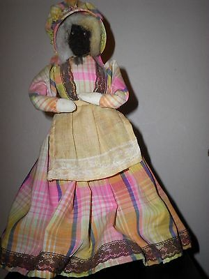 Spooky apple head doll plaid & lace country dress old woman