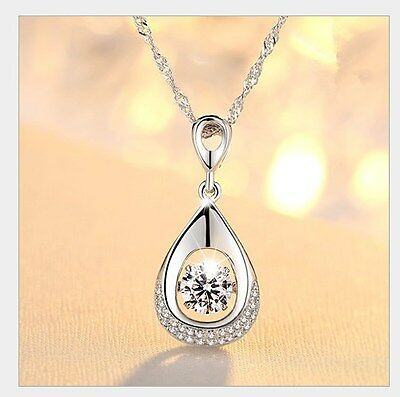 Dancing Sterling Silver Halo Heart Cubic Zirconia Pendant Necklace Gift Box A8