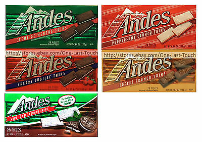 ANDES^ 4.67 oz / 28 pc Box THINS Candy/Candies HOLIDAY Gluten Free *YOU CHOOSE*