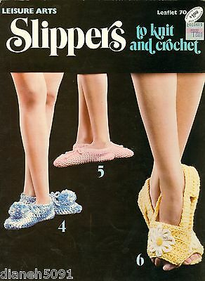 Womens Slippers To Knit & Crochet Pattern Book 6 Great Patterns All Pictured