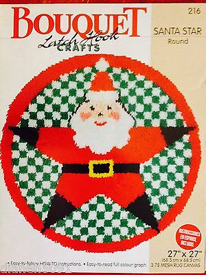 Santa Star Rug Latch Hook Pattern Full Sized Colour Graph English & Spanish