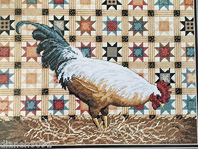 Patchwork Rooster Counted Cross Stitch Pattern With Color Codes & Chart