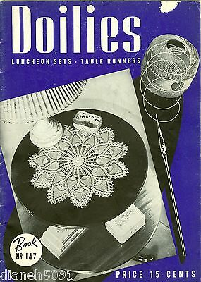 Vintage 1940 Doilies Luncheon Sets Table Runners Crochet Pattern Book