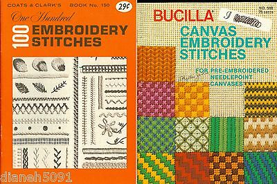 Lot Of 2 Vintage Embroidery PATTERNS Book 100 Embroidery Stitches & Canvas Book