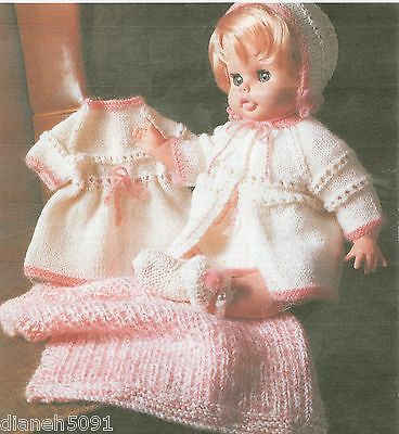 """Doll Clothing Knitting Pattern For Baby Dolls 18-20"""" Dress Sweater 5 Pieces"""