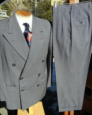 Vintage 1940s Double Breasted KUPPENHEIMER Suit 40S -The Boss Bankster Gangster