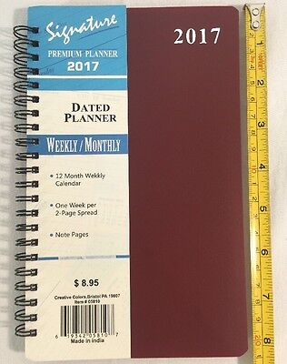 2017 Weekly Monthly Dated Day Planner Calendar Signature Premium 5X8 Plum