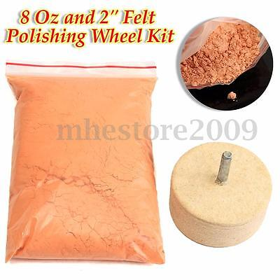 8Oz 230g Cerium Oxide Polishing Powder & 2'' Felt Polishing Wheel Glass Mirrors