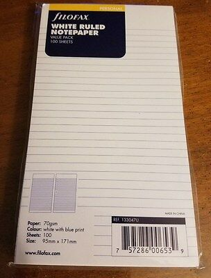 Filofax White Ruled Notepaper- 100 sheets - 133047