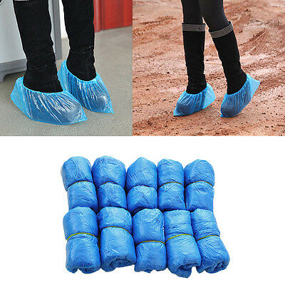 Blue 100 Disposable Plastic Anti Slip Shoe Covers Cleaning Overshoes Protective
