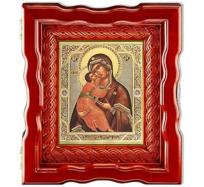 Byzantine Icon Madonna and Child in Wooden Box Kiot With Glass Open Up Door 10""