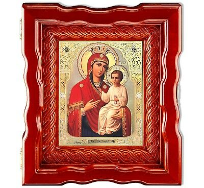 Crowned Madonna and Child Christ Russian Icon in Wooden Box Glass Open Up Door