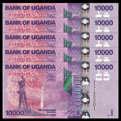 Lot 5 PCS, Uganda 10000 (10,000) Shillings, 2015(2016), P-NEW 52d, UNC