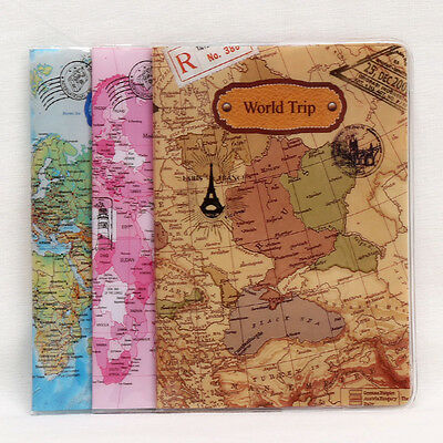 World Map Passport ID Holder Organizer Travel Card Case Document Cover Protector