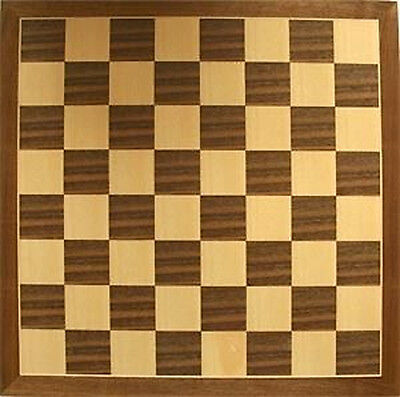 *NEW IN BOX* Walnut Inlaid Veneer Classic Wooden Wood Chess Board 46cm / 19 inch