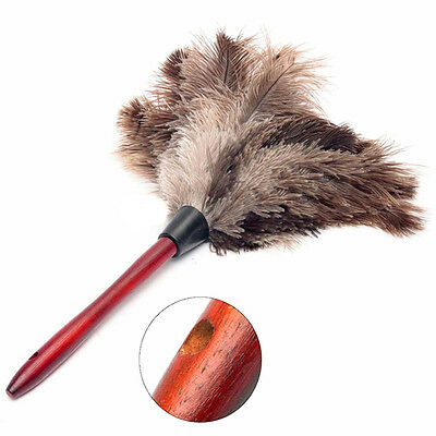 Anti-static Ostrich Feather Fur Brush Duster Dust Cleaning Tool Wood Handle 1PC