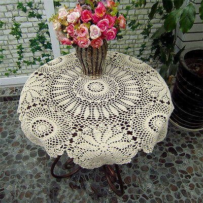 Crochet Lace Doily Placemat Table Mat Cloth Cotton Yarn Round 70CM Beige/White