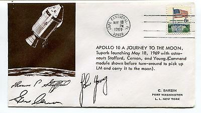 1969 Apollo 10 Journey to the Moon Port Washington New York Space Cover SIGNED?