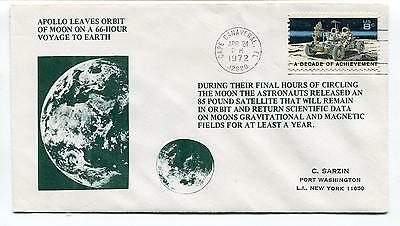 1972 Apollo Leaves Orbit of Moon 66 Hour Voyage Cape Canaveral FL Space Cover