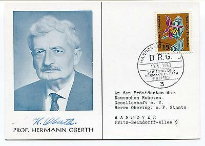 1963 Prof. Hermann Oberth sign Hannover Space Cover SIGNED