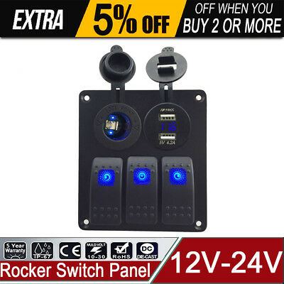 Blue 3Gang Switch Panel Dual USB 4.2A Power Voltmeter Socket For Marine Boat Car