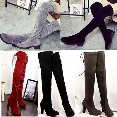 Ladies Over knee High Thigh Lace Up Stretch Flat Shoes Womens Knight Long Boots