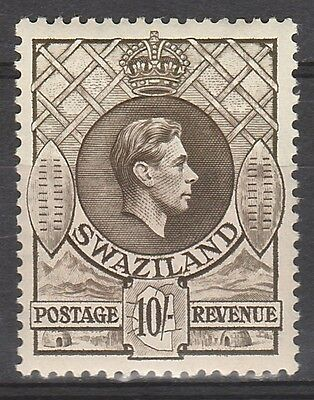 Swaziland 1938 Kgvi Shields 10/- Perf 13.5 X 13 Top Value