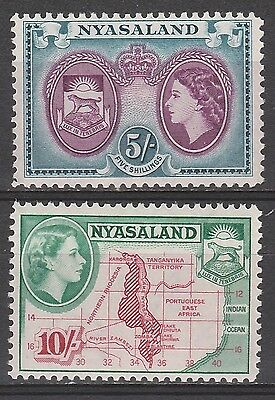 Nyasaland 1953 Qeii Pictorial 5/- And 10/- Mnh **