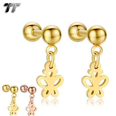 TT Surgical Steel ButterFly Dangle Cartilage Tragus Earrings (BE177) NEW
