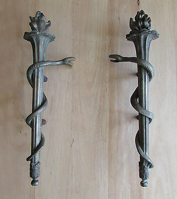 Two Unusual SERPENT Snake & Flame TORCH Large ANTIQUE DOOR Handle PULLS 17""