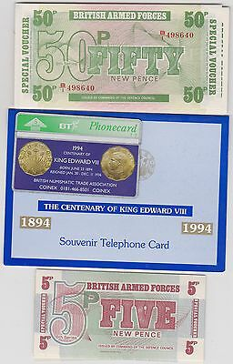 19 Mint Condition Armed Forces Banknotes + An Edward Viii Centenary Phone Card