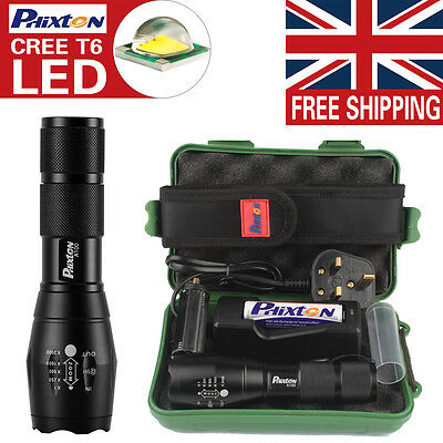 UK X800 Shadowhawk 5000LM Zoomable XML T6 LED Tactical Flashlight +18650 Battery