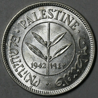 1942 BU PALESTINE Silver 50 mils Arabic & Hebrew Legends Coin (16061205R)