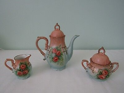 Vintage Hand Painted Shabby Floral Rose Chic Teapot Set Cream & Sugar