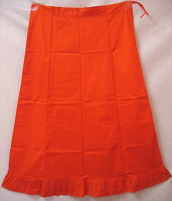 Orange Pure Cotton Frill Petticoat Skirt Buy Choli Top Tops And Sari #34Y34