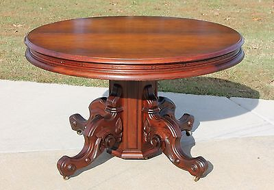 Walnut Victorian 48 in. Round Dining Table with 5 Leaves~9 ft Long~ Circa 1875