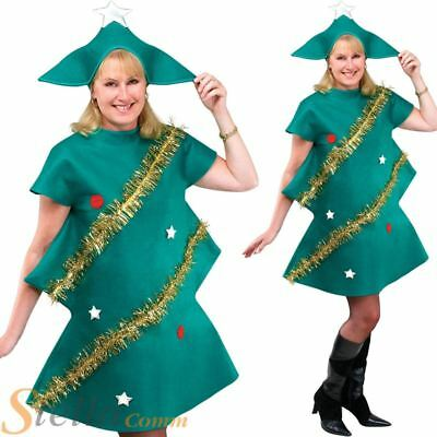 Ladies Christmas Tree Xmas Festive Fancy Dress Costume Adult Unisex Outfit