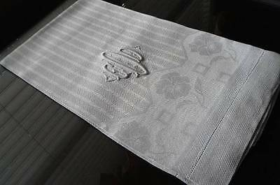 Vintage Irish Linen Damask Guest Bath Towel Stripes Poppies Monogram O