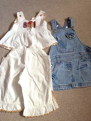 NEXT Denim Dungarees Dress Top Trousers 4-5 Year Old Girls Summer Holiday 3 Item