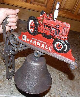 SUPERB DECORATIVE HEAVY McCORMICK FARMALL TRACTOR CAST IRON WALL MOUNTING BELL