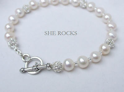 Handmade Freshwater Pearl Diamante Bridal Bracelet Sterling Silver Toggle Clasp