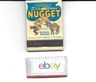 Dick Graves Nugget Casino Sparks Reno,nevada Matchbook 1950's